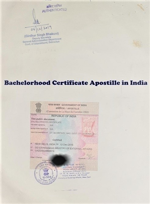 Bachelorhood Certificate Apostille in India