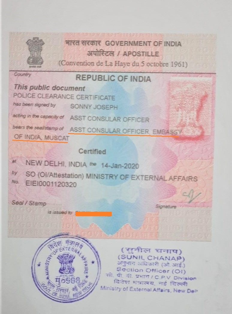 PCC Certificate Apostille from MEA India